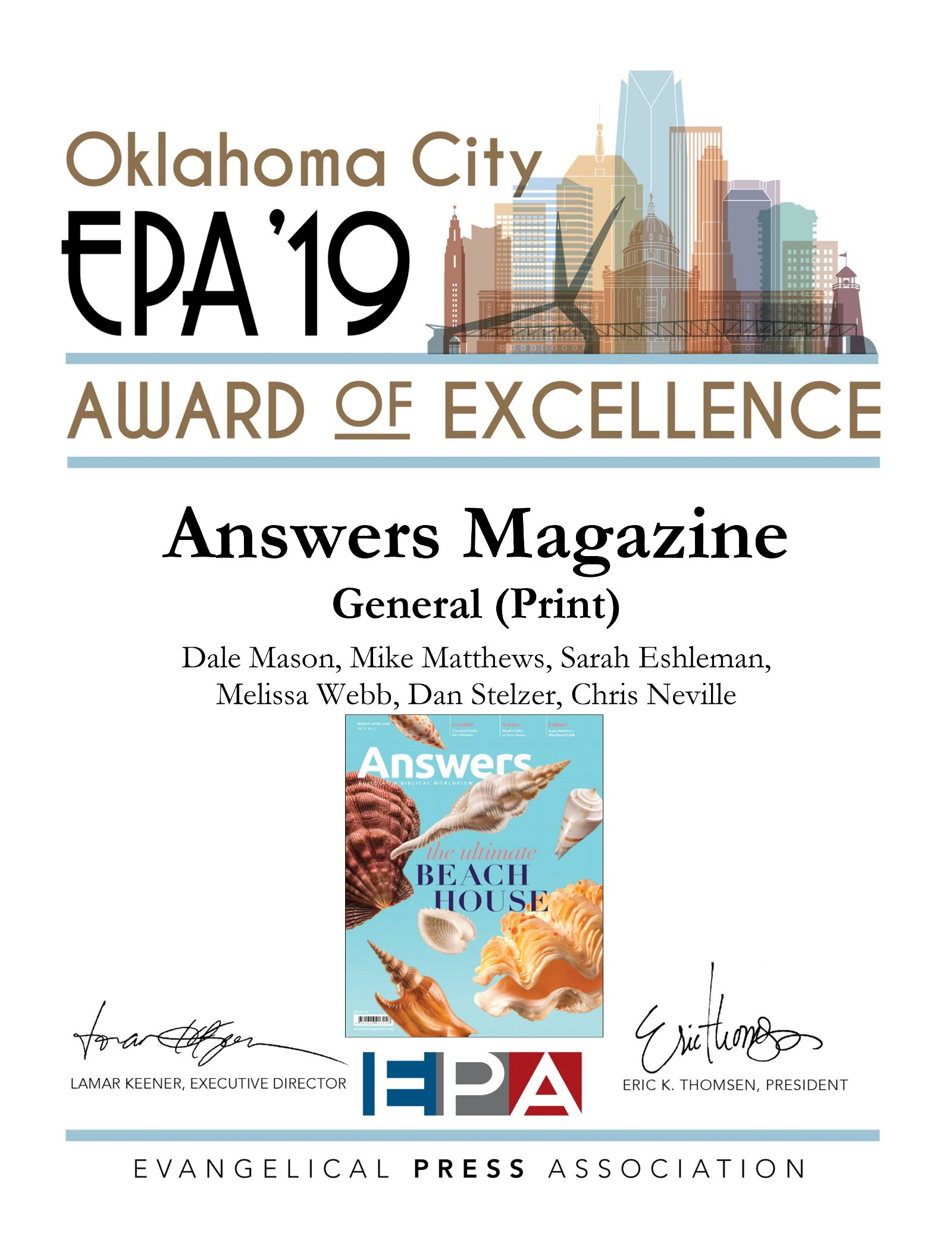 Answers Magazine Award of Excellence