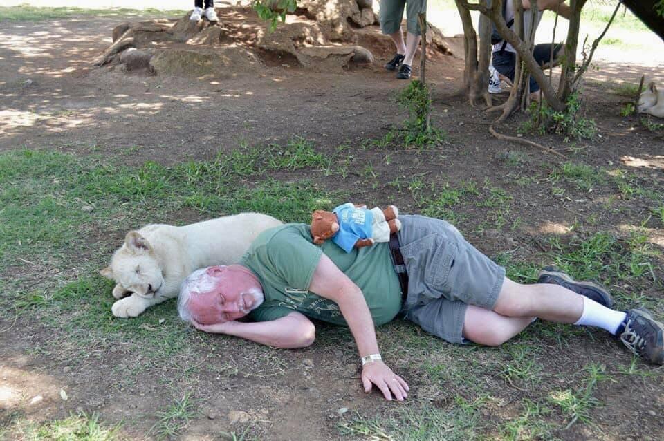 Dr. Danny Faulkner naps with a friend