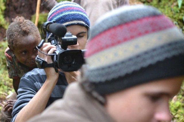 Morgan with video camera