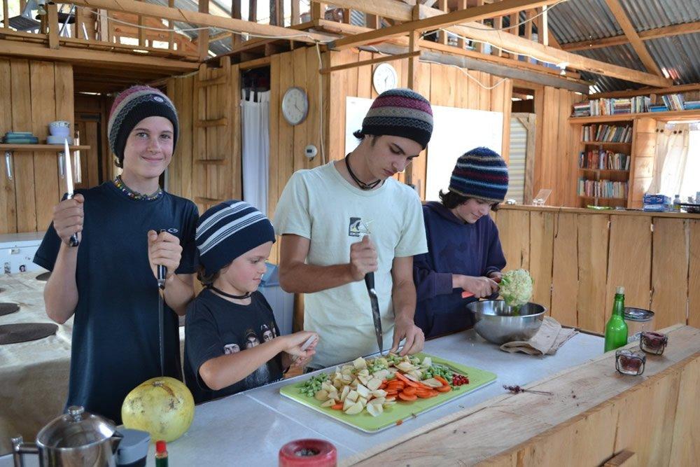 Boys Cutting Food