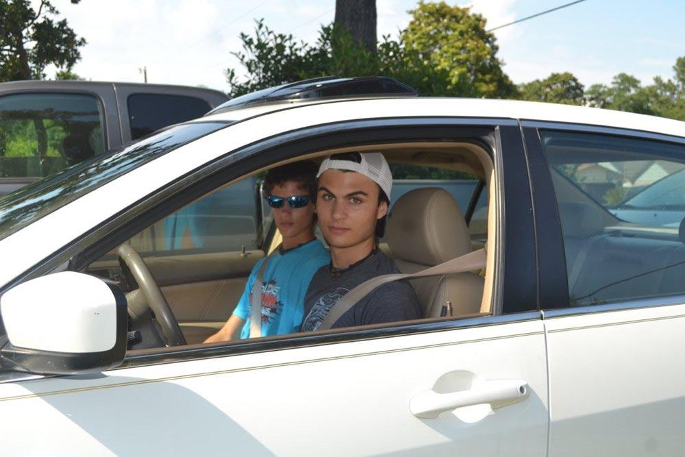 Morgan and Hudson in Car