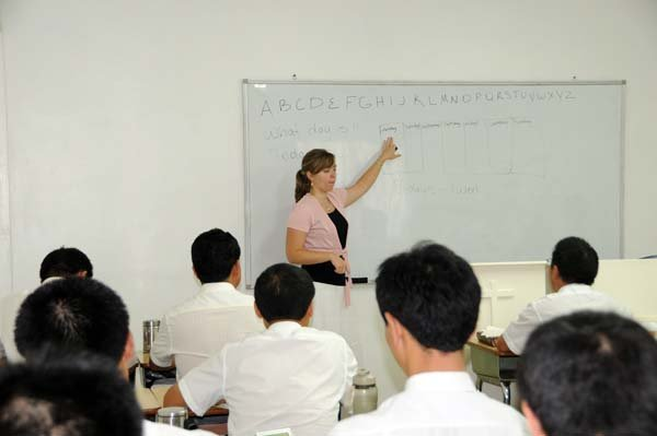 Laura teaching English