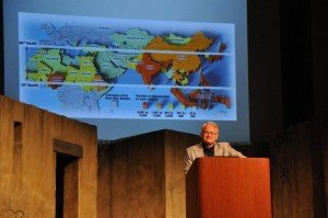 """A slide behind Dr. Crandall shows the so-called """"Missionary 10/40 window,"""" a region which has many nations largely unreached with the gospel."""