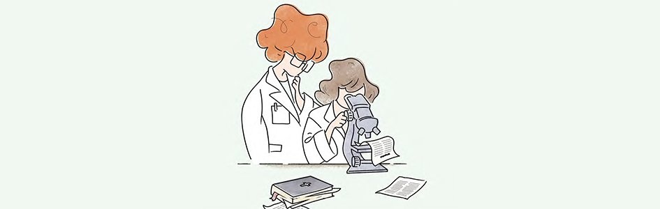 Scientist with Bible Illustration