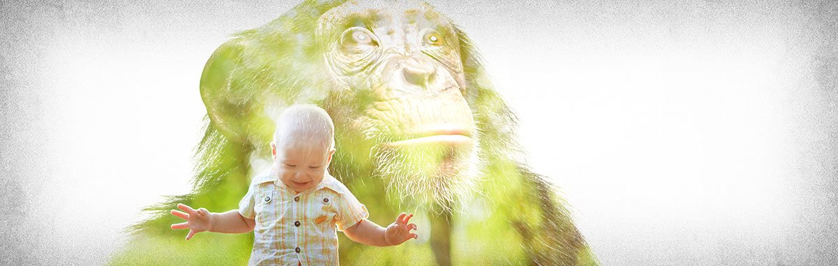 Little Boy with Ape Background