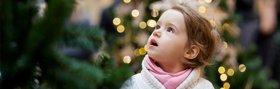 Child with Christmas Trees