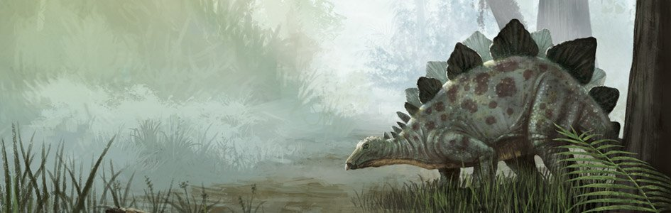 Dinosaur next to water