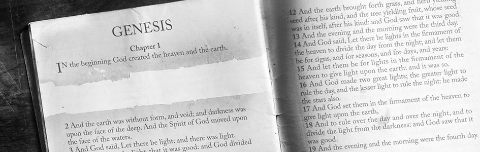 Bible with gap in page