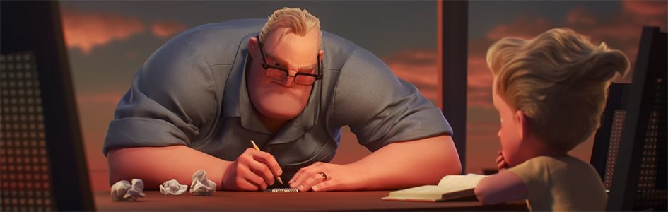 Bob Parr and son Dash in Screenshot from Incredibles 2