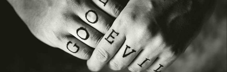Hands with Good and Evil Tattoos