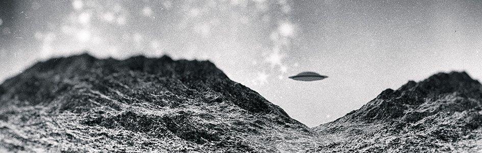 Black and White UFO Illustration