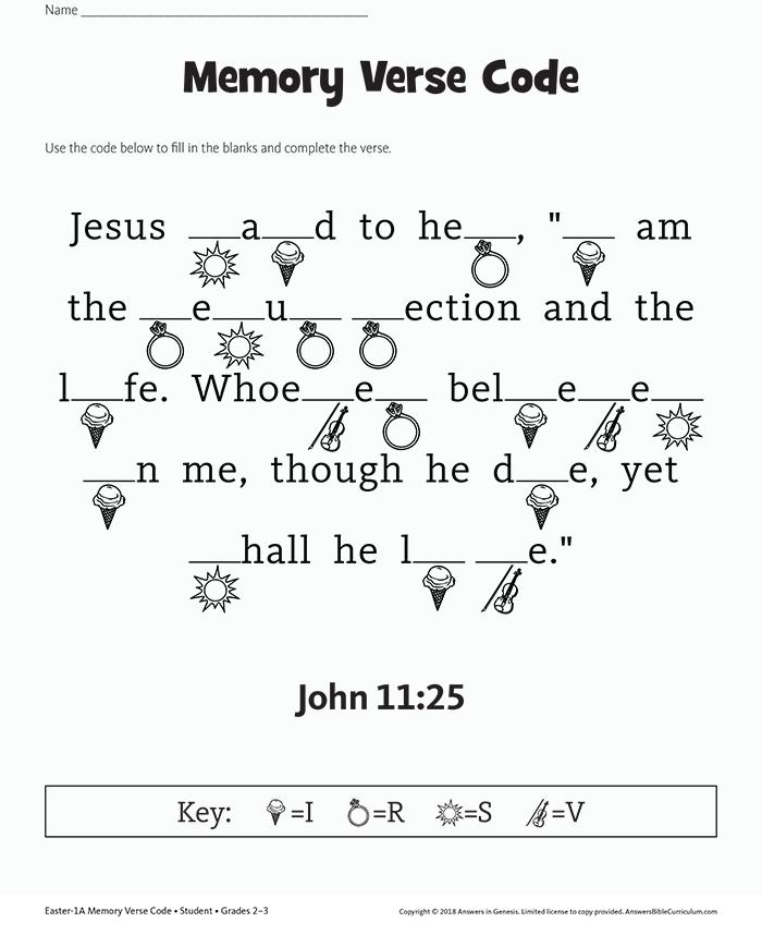 John 11:25 Memory Verse Code