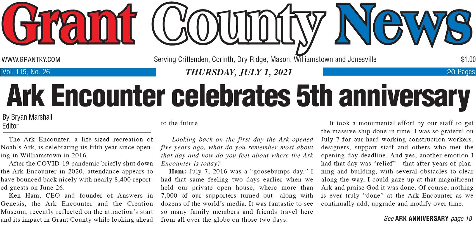 Grant County News story