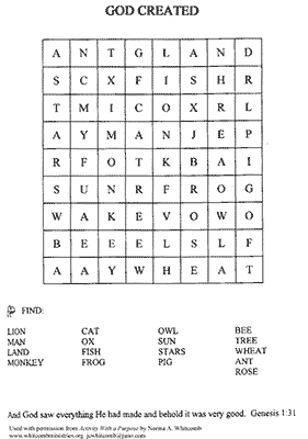Creation Word Search
