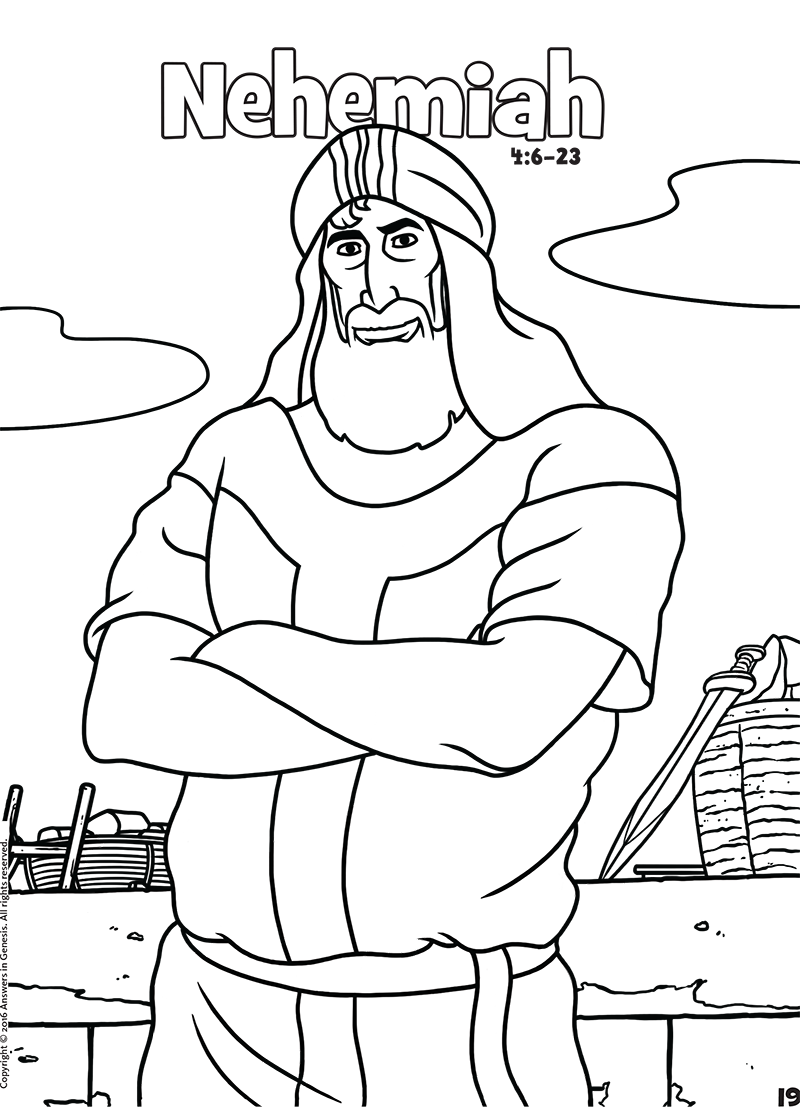 Coloring Pages For Nehemiah : Book of nehemiah bible coloring page sketch