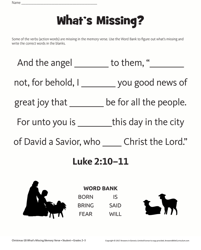Missing Words Memory Verse: Luke 2:10–11