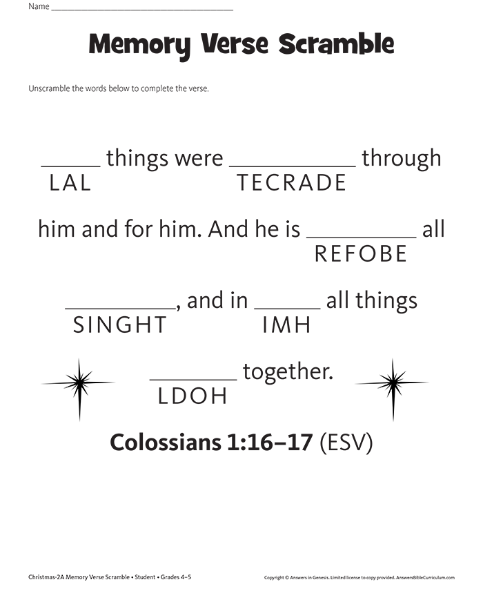 Colossians 1:16–17 Memory Verse Scramble