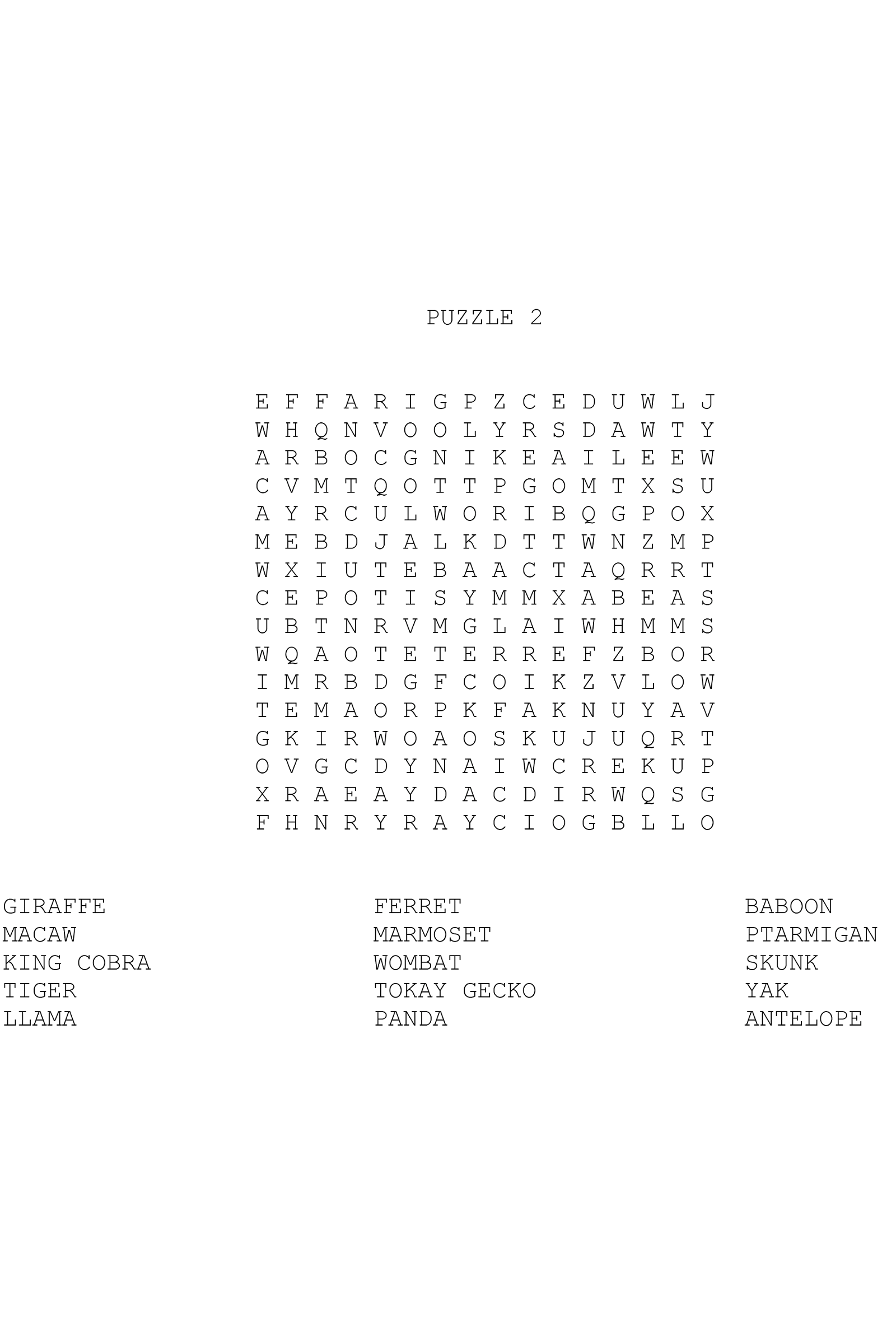 Animal Word Search 2