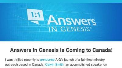 AiG–Canada Updates