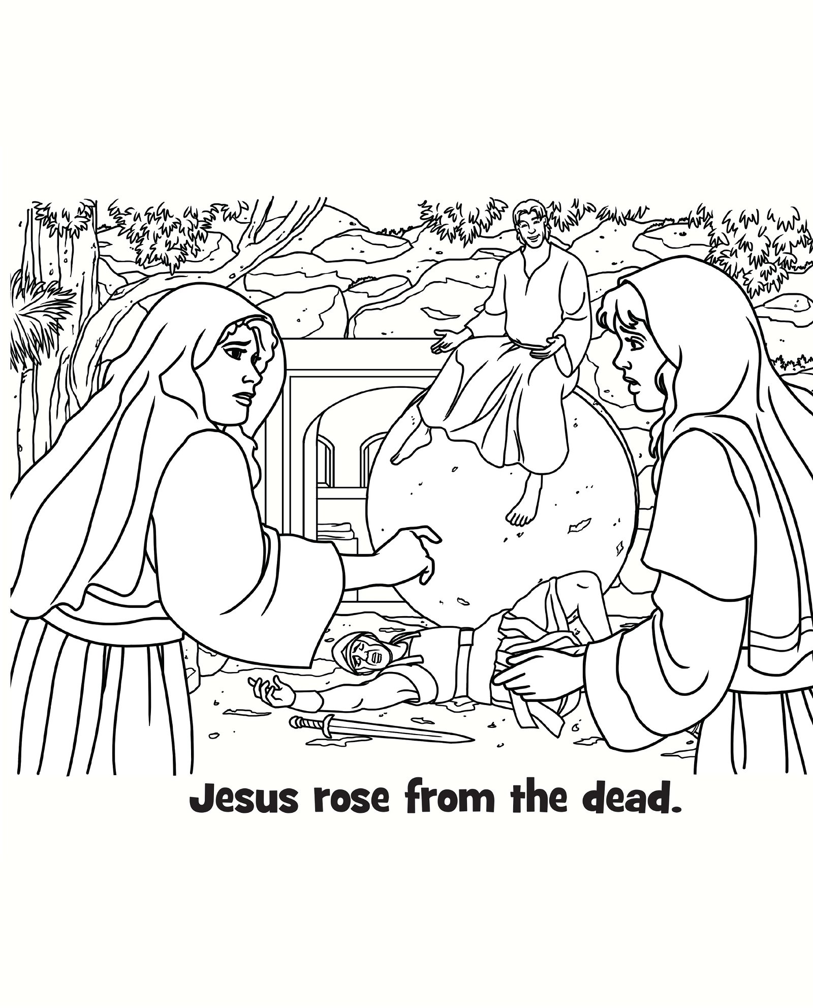 Jesus Rose from the Dead Coloring