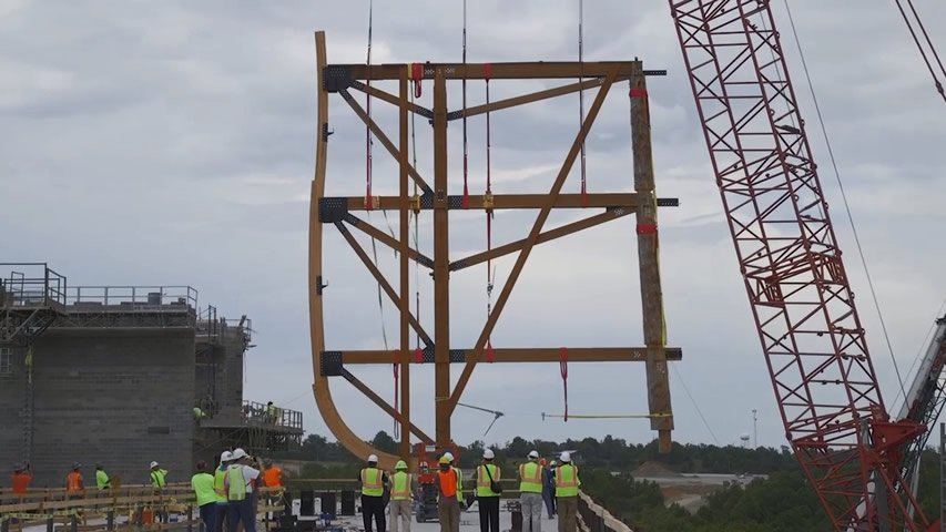 Ark Encounter: First Bent Section Raised