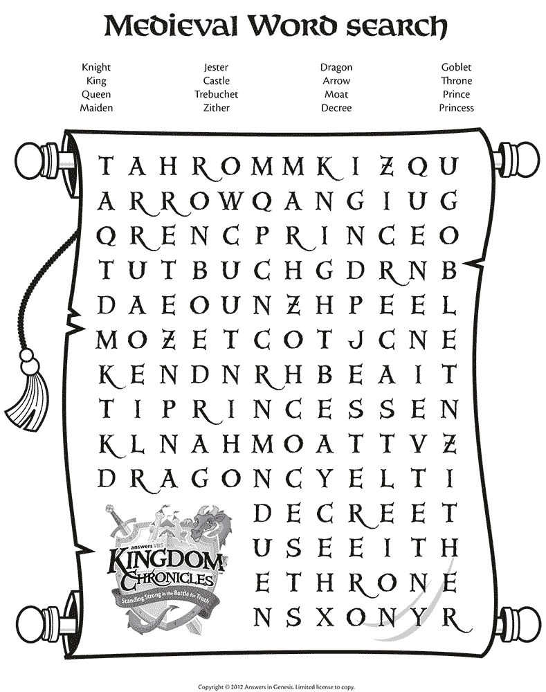 Medieval Word Search on Evolution Worksheets Middle School