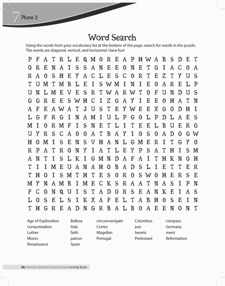 Reformation Word Search Puzzles Reformation Word Search | Answers in ...