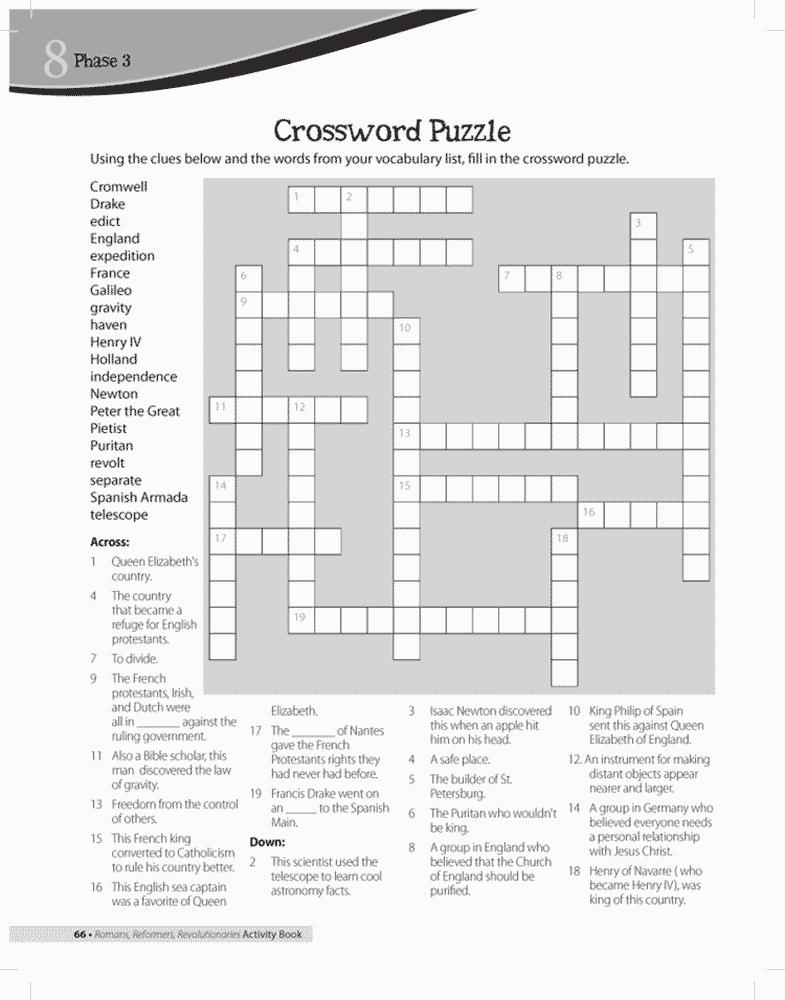 Puritan Crossword