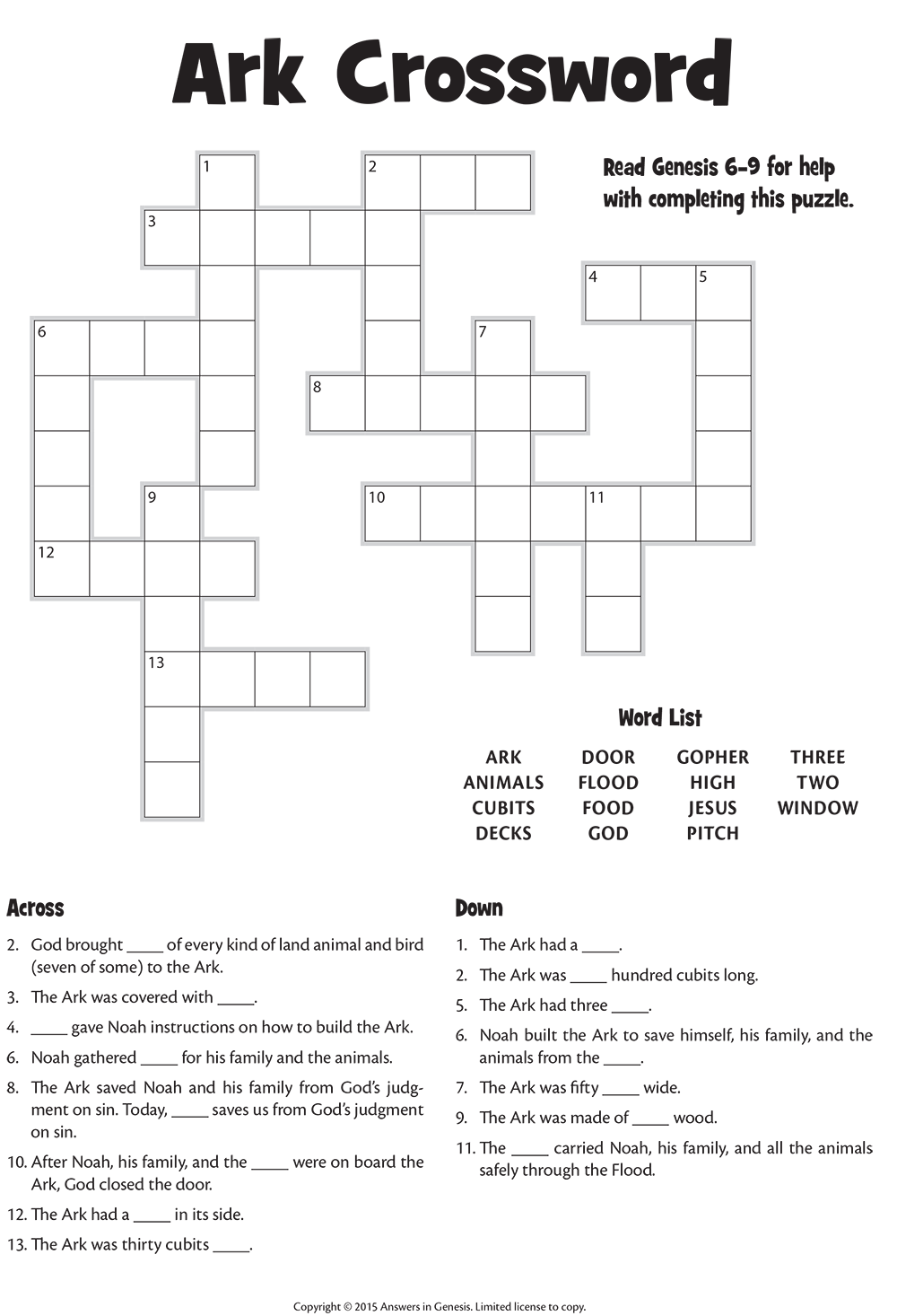 Ark Crossword