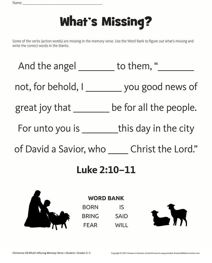 Missing Words Memory Verse: Luke 2:10–11