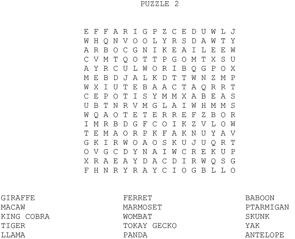 zoo wordsearch