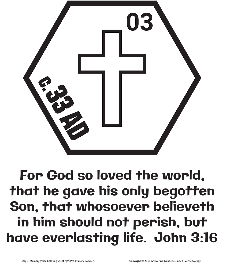 John 3:16 Coloring with Timeline