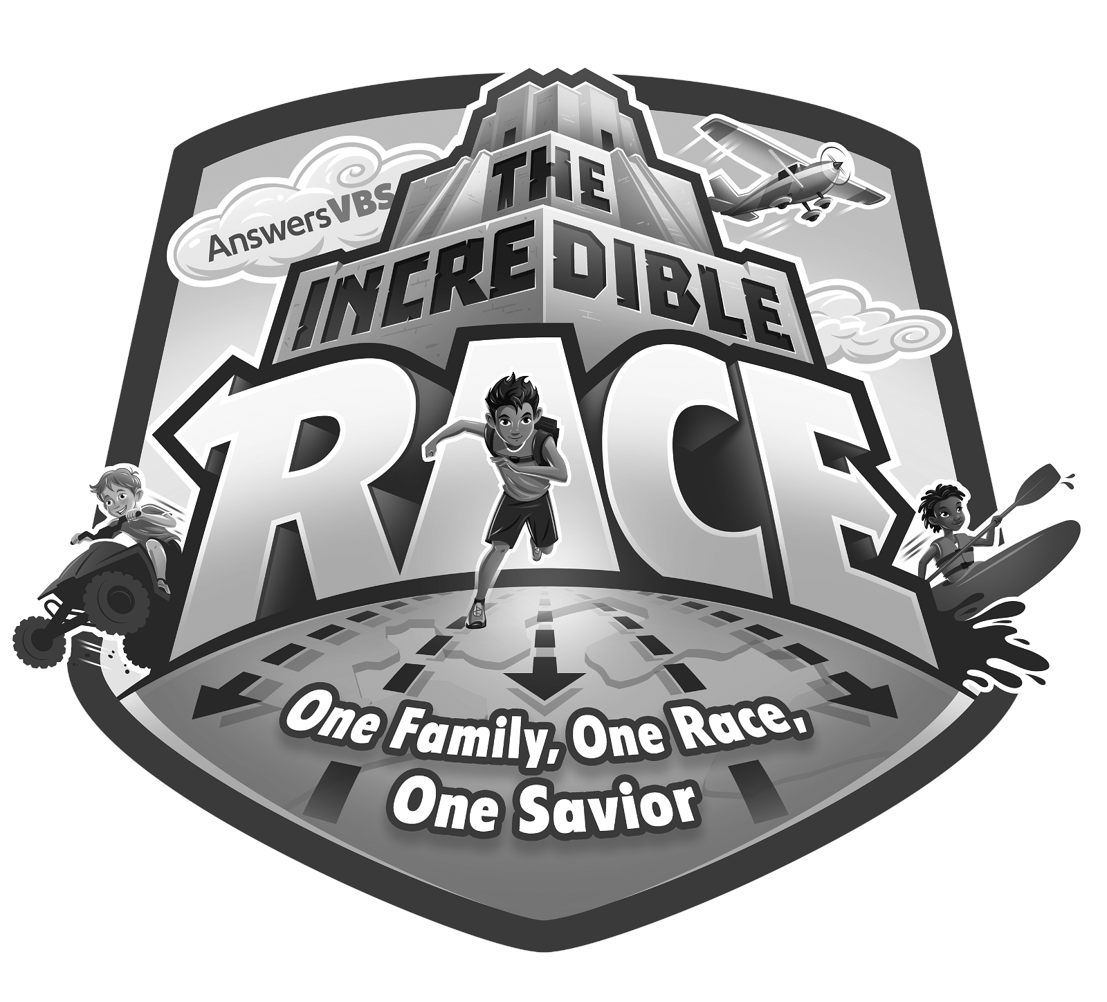 Grayscale The Incredible Race Logo