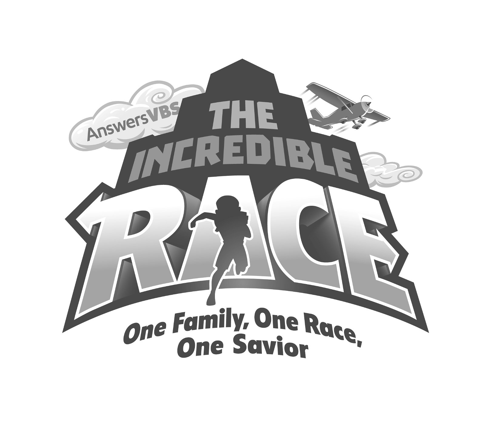 Simple Grayscale The Incredible Race Logo