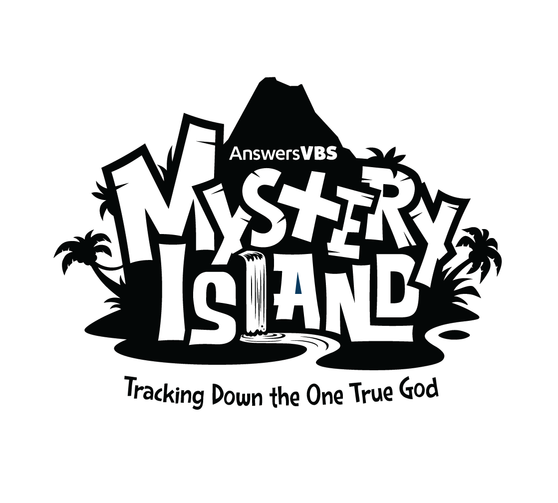 Simple Grayscale Mystery Island Logo
