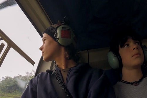 Hudson and Kian in Helicopter