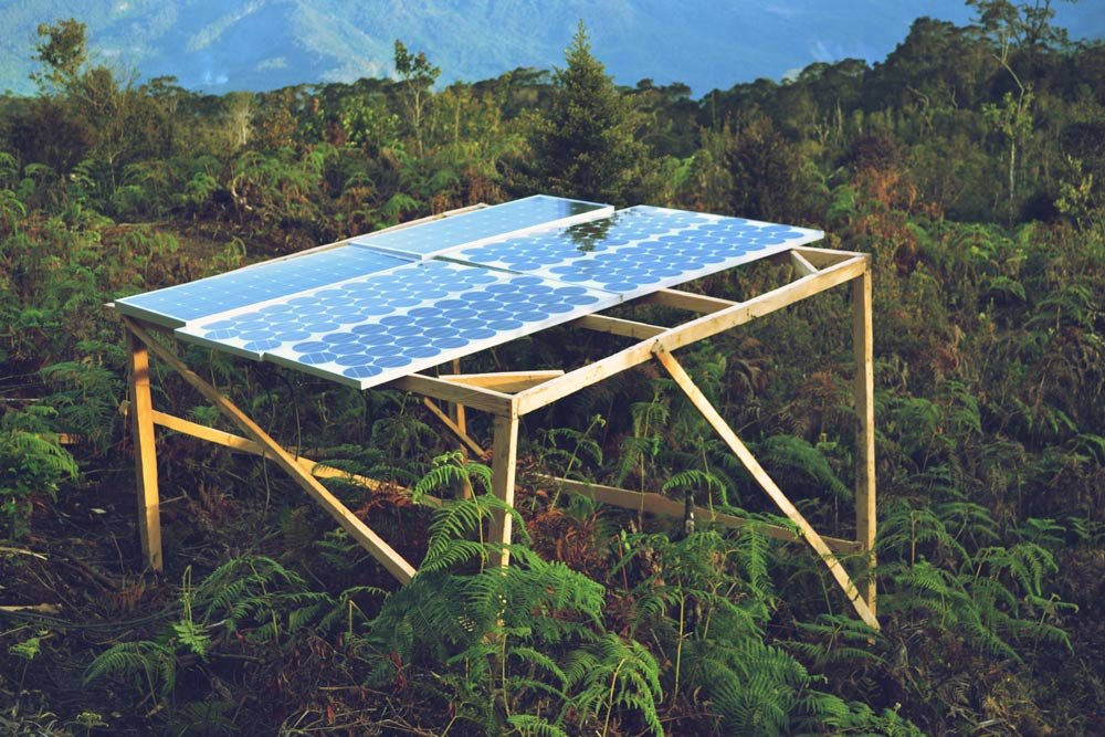 Solar panels used by the Wild family to produce electricity