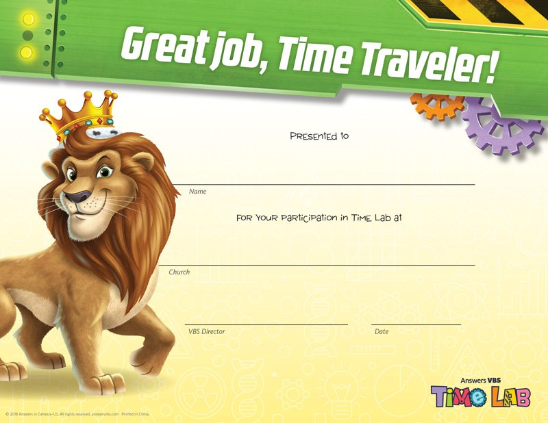 Time Lab VBS: Completion Certificates | Answers in Genesis