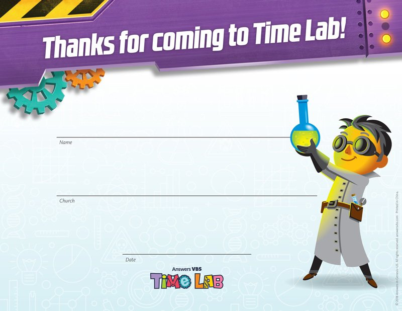 Time Lab Vbs Visitor Certificates Answers In Genesis