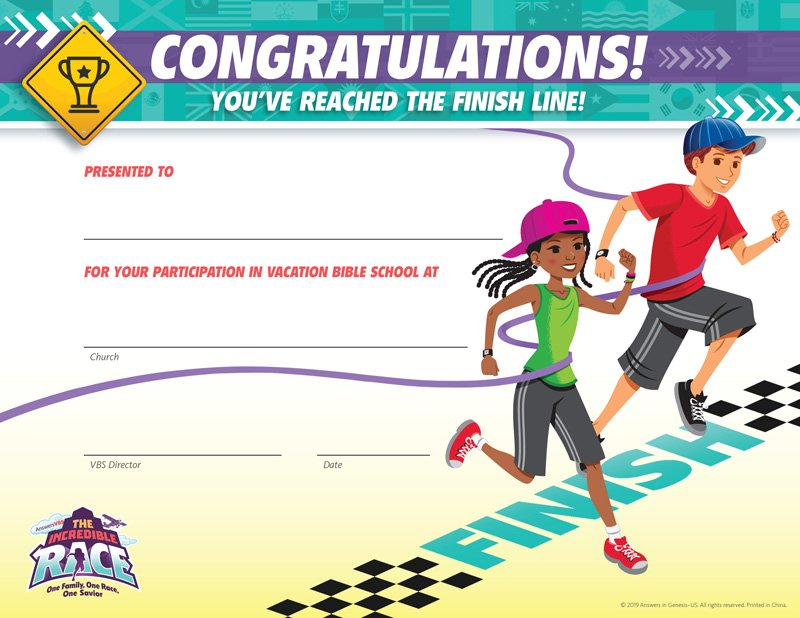 the incredible race vbs  completion certificates