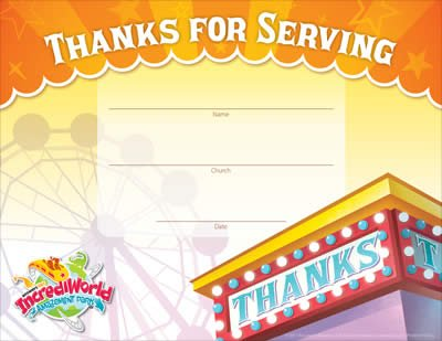 IncrediWorld VBS: Staff Appreciation Certificates