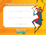 Kingdom Chronicles VBS: Visitor Appreciation Certificates: Pack of 10