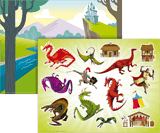 Kingdom Chronicles VBS: Dragon Sticker Sheet & Picture (Pack of 10 Sets)