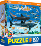 Animals of the Ocean Puzzle: Sharks: 100 Pieces