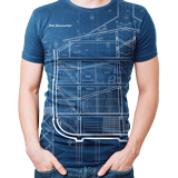 Ark Encounter Blueprint T-shirt: Blue Large