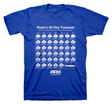 40 Day Forecast T-shirt: Blue Large